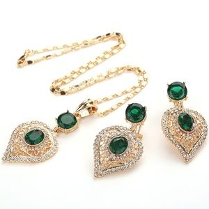 Emerald & Cubic Zirconia Necklace Set RGGG